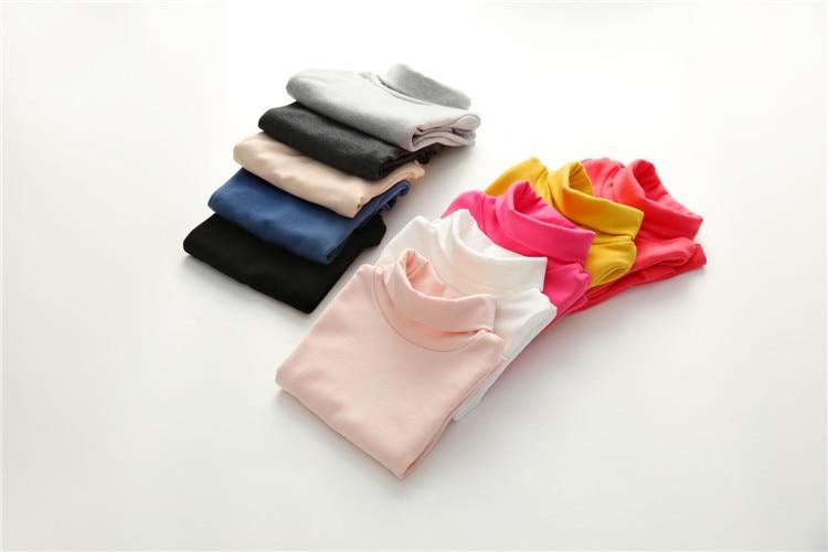 2018 Spring Autumn 2-10T Years Children'S Candy Color Sweet Long Sleeve High Neck Unisex Kids Girl Boy Basic Turtleneck T-Shirt (29)