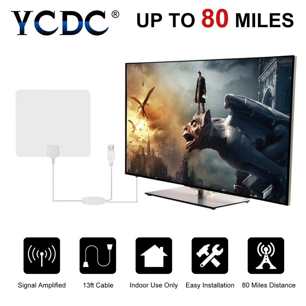 YCDC New White Antena Digital HDTV Antenna TV 80 Miglia gamma Antenne TV con USB Alimentato Amplificatore di Segnale Piane Interne Booster