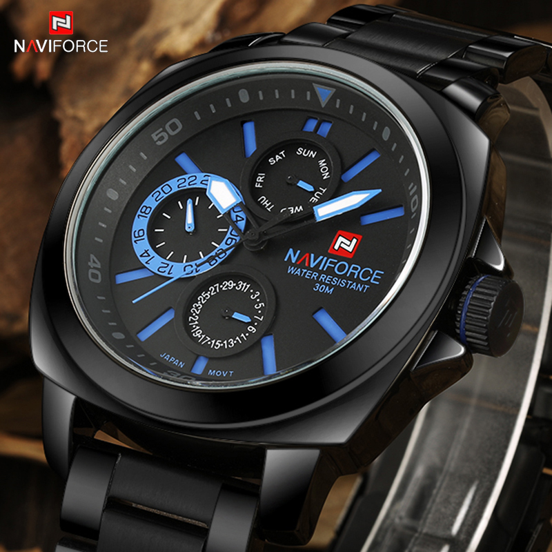 2017 New Luxury Brand Men Watches Fashion Men's Quartz Clock Male Full Steel Army Military Sports Wrist Watch Relogio Masculino weide new men quartz casual watch army military sports watch waterproof back light men watches alarm clock multiple time zone