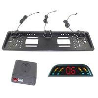 Car Parking Sensor LED Display European License Plate Frame Vehicle Backup Radar Punch Free DXY88