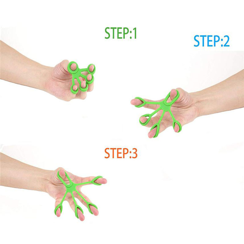 Finger Handshake Silicone Ring Gripper Strengthener Excercise Trainer Fitness Resistance Band Expander Maca 3 Levels