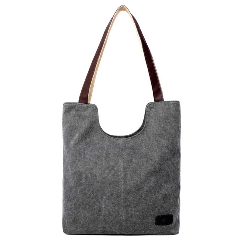1ec3e7824a89 US $14.48 45% OFF|Vintage Women Handbag Large Canvas Bucket Bag PU Leather  Handle Casual Shoulder Tote Bags Linen High Quality Design School Bag-in ...