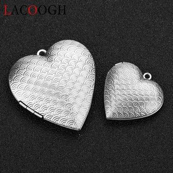 2018 nueva moda de acero inoxidable escamas de pescado corazón collares medallón colgante foto caja encantos DIY joyería regalo para mujer chica