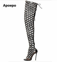 New Design Women Fashion Peep Toe Black Brown Studded Over Knee Gladiator Boots Sexy Spike Cut out High Heel Sandal Boots
