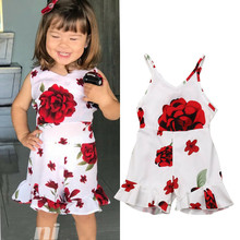 Zomer Casual Holiday Peuter Baby Meisje Kleding Bloem Backless Romper Jumpsuit Losse Overalls Outfit 1-5Y(China)