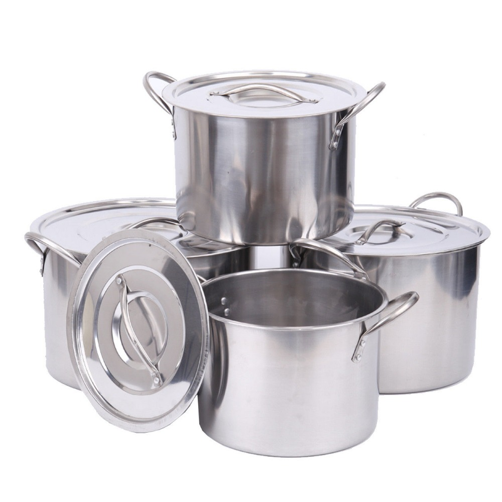 все цены на (Ship from USA) 4pc Large Stainless Steel Deep Stock Soup Boiling Pot Stockpots Set Catering онлайн