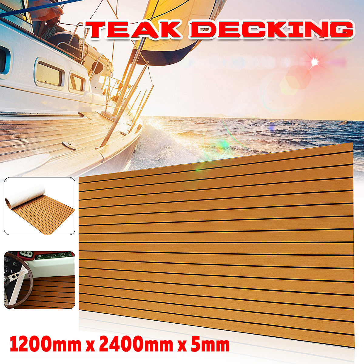 1200x2400mm 5mm Self Adhesive EVA Foam Faux Teak Sheet Boat Yacht Synthetic Teak Decking Floor Mat Brown|RV Parts & Accessories| |  - title=