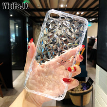 Glitter Phone Case For iPhone 7 8 Plus Diamond Pattern Transparent Silicone Cases Girls Soft TPU Cover For iPhone 6 6s Plus X(China)