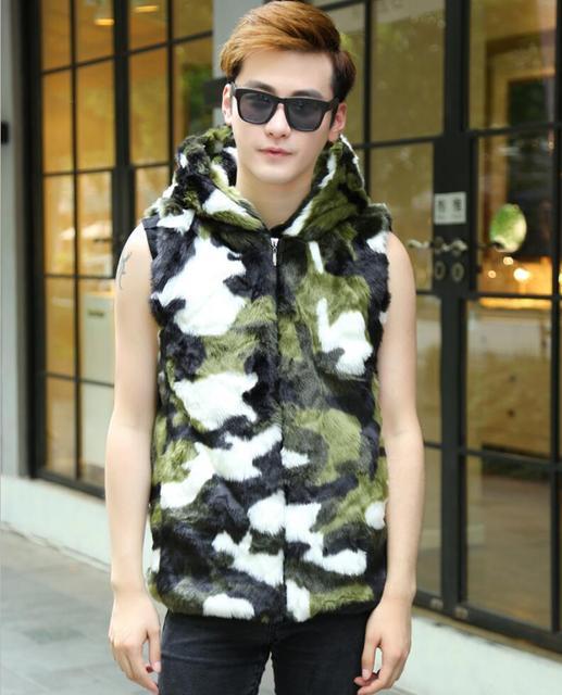 Fashion Man Winter Warm Artificial Fur Jackets Leisure Camouflage zipper vest Male Mink Hooded Coats gilet men Faux Fur Rabbit