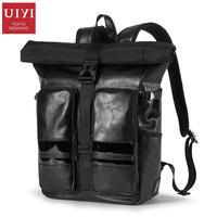 UIYI бренд PU кожи мужская дорожная сумка Колледж черный кожаный школы Рюкзаки для подростков школьная сумка для ноутбука рюкзак 160182