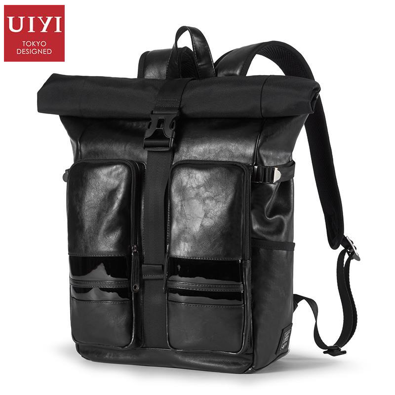 UIYI Brand PU Leather Unisex Travel Bag College Black Leather School Backpacks For Teenagers Laptop School Bag Rucksack 160182 men pu leather backpack crocodile pattern school backpacks for teenagers double shoulder bag black laptop rucksack travel bags
