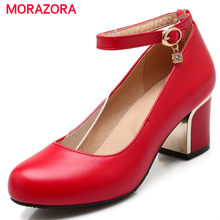 MORAZORA PU soft leather high heels shoes 6cm woman shallow spring single shoes  wedding party women 285bd6a49558