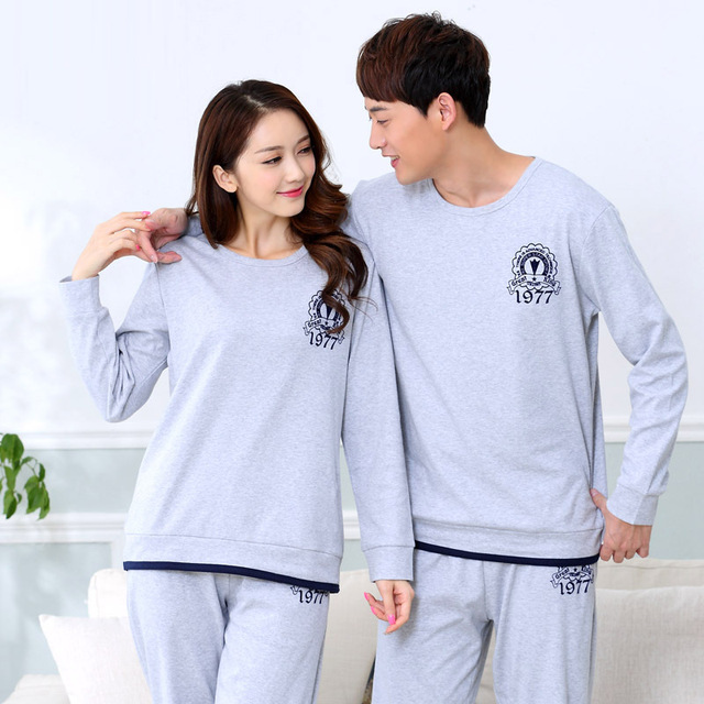 New Spring and autumn Soild color lovers cotton long sleeved sleepwear pajamas Cartoon Cute Sweet Pajamas Sets
