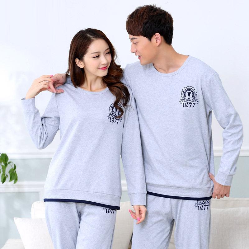 Nova Primavera e outono cor Soild amantes de algodão de manga comprida sleepwear Conjuntos de Pijama pijama Bonito Dos Desenhos Animados Doce