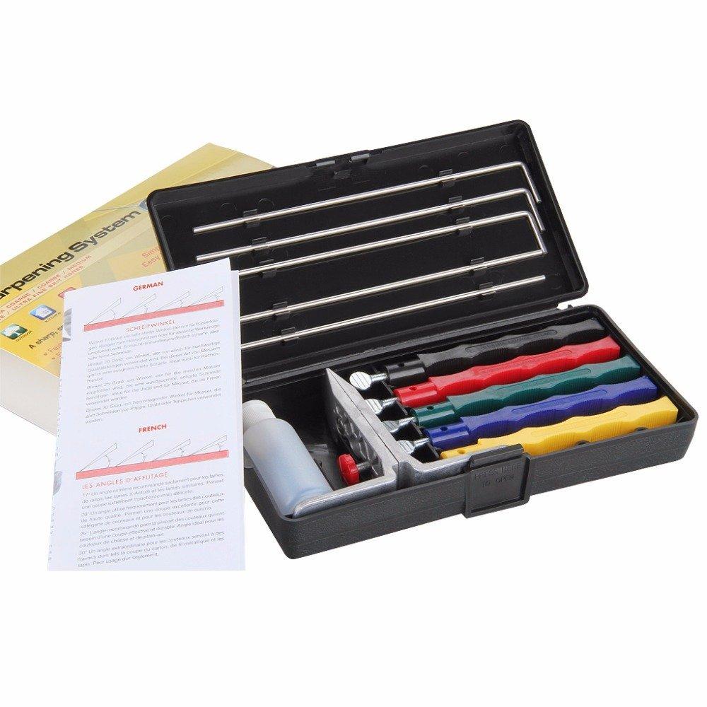 Knife Sharpener, Lansky Deluxe 5-Stone Sharpening System Grindstone, 5 Stones Extra Coarse, Knife Sharpener Kit Kitchen Tools