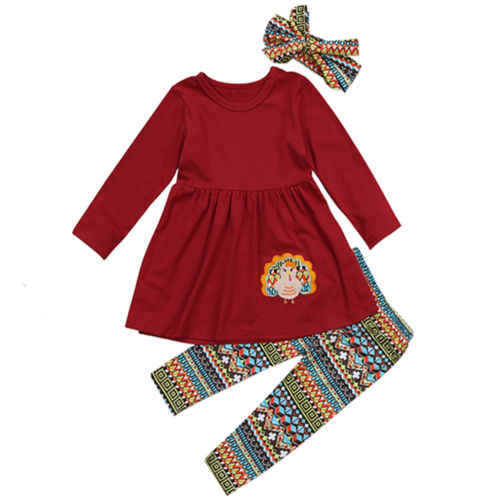 Toddler Thanksgiving Kids Baby Girls Outfit Clothes  Gril Set T-shirt Tops Dress+Leggings Pants Children Clothing Sets