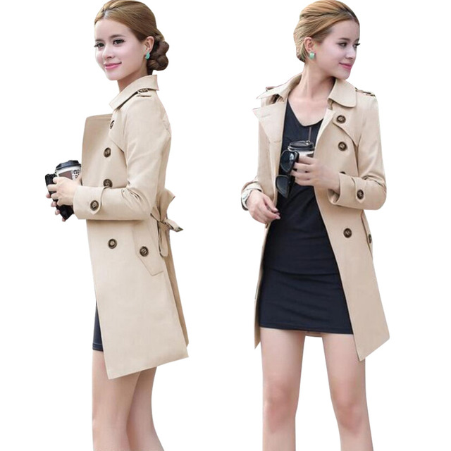 Autumn Winter Women Long Trench Coat Fashion Khaki Black  Cotton Blends Turn-Down Collar Casual Office Trench