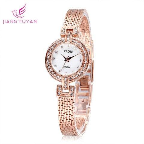 Relógio de Luxo Presente das Senhoras Nova Moda Senhoras Cristal Strass Pulseira Cobre Quartzo Simples Relógio Feminino Mod. 129461