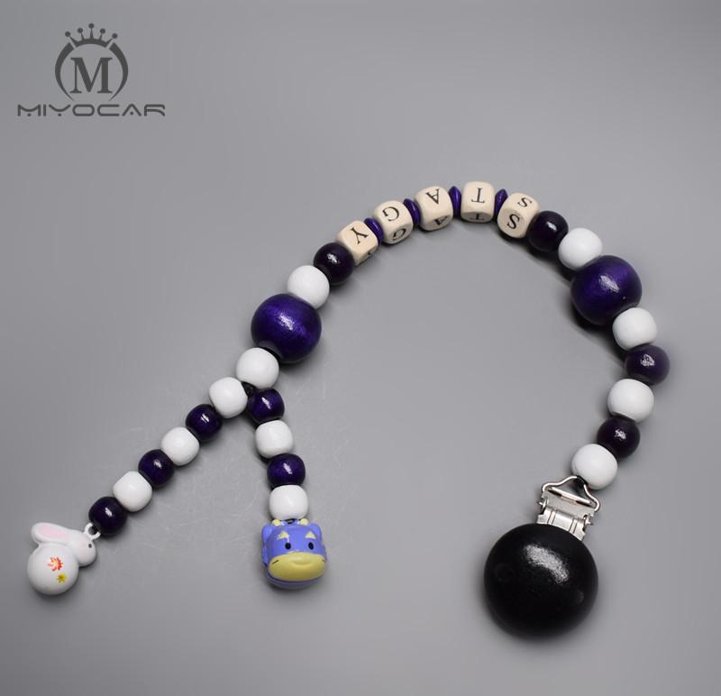 Personalised --Any name lovely cool black wooden beads baby pram charm stroller toy Baby Rattles Mobiles toy rattle attached bed