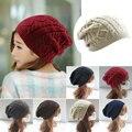 Barato 2017 Mujeres gruesas Tapas Twist Patrón de Las Mujeres Suéter de Punto Sombreros pompones sombrero de invierno gorros cotton cap femenino W2