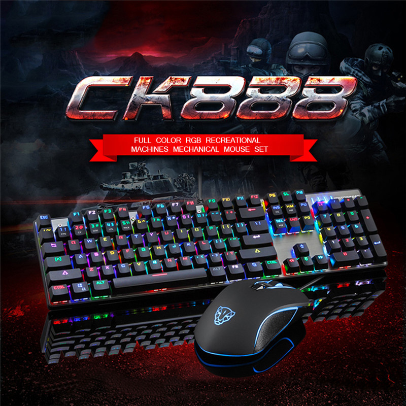 Motospeed CK888 Gaming Keyboard Mouse Combo USB Wired RGB Backlight Mechanical Keyboard  For Computer Laptop Games lol cf dare u wcg armor soldier 6400dpi 7 programmable buttons metab usb wired mechanical gaming mouse