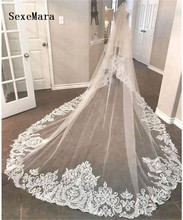 Elegant Bridal White Ivory Wedding Veils 3 Meters Long Cathedral Length Lace Appliqued Real Image Tulle Veil With Comb
