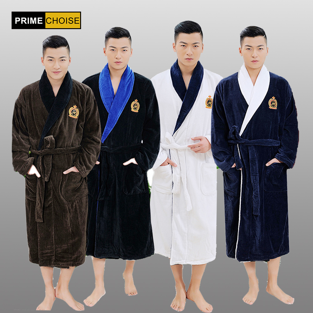 Top Quality Robe Men Plus Size XXXL Bathrobe Men Terry Bathrobes 100% Cotton Thickening Toweled Men Bathrobe(China)