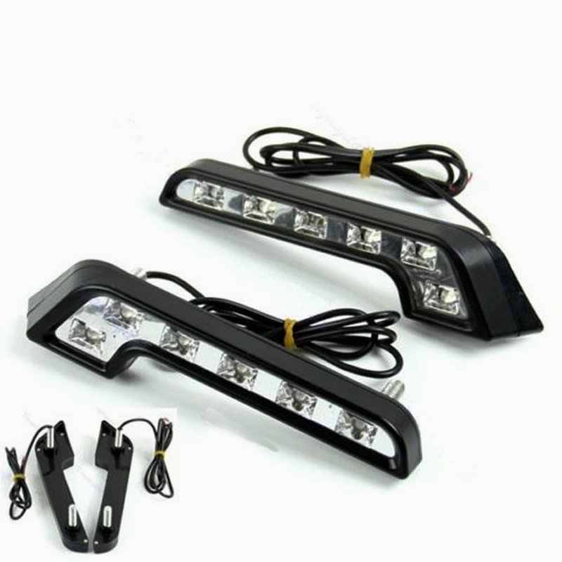 2PCS 6LED Driving Lamp Fog 12V DRL Daytime Running Light White for Car Auto High Quality 1pcs high power h3 led 80w led super bright white fog tail turn drl auto car light daytime running driving lamp bulb 12v