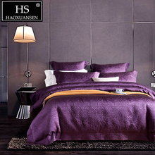 HS 120S Luxury Purple Paper-Cut Pattern  Jacquard 4pcs Bedding Sets Wedding Pure Color Bed Linens Thickened King Size Bedclothes
