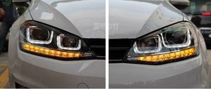 Image 4 - Cubierta de faro delantero para coche Golf 7 2014, faros delanteros Golf7 MK7, luz trasera LED, lente DRL, doble haz, bi xenón HID, 2 uds.