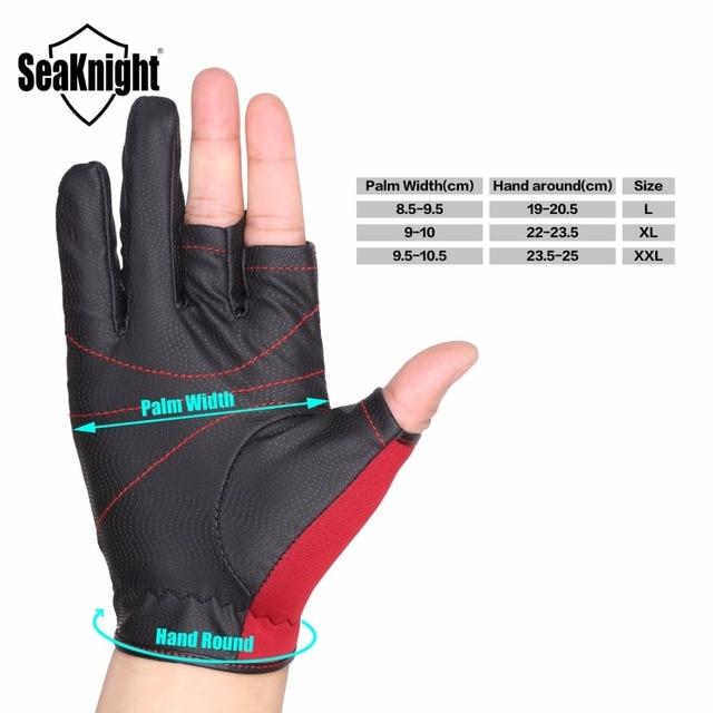 SeaKnight SK03 Sport Leather Fishing Gloves 1Pair/Lot 3 Half-Finger Breathable Anti-Slip Glove Neoprene&PU Fishing Equipment 1