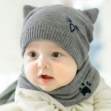 8e3461231094e 2Pcs/Set Newborn Baby Knitted Hat Scarf Cartoon Cat Caps Scarves Infant  Boys Girls Autumn Winter Warm Crochet Beanie Set