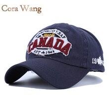 Cora Wang 2017 CANADÁ Gorras de Béisbol Mujeres Parche Sombrero de Papá para Los Hombres de Letras bordadas casquillo Unisex del casquillo del snapback Negro de algodón ocio
