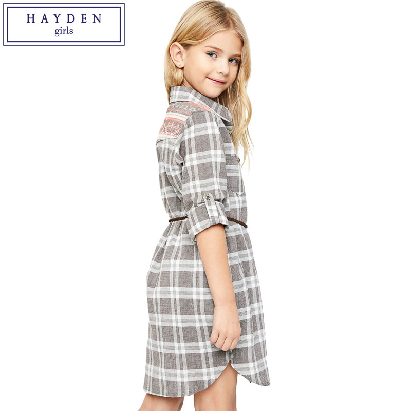 HAYDEN Girls Plaid Dress Clothing Teenage Clothes Kids Casual Dresses for Girls Shirt Dress Long Sleeve 100% Cotton Brand Design