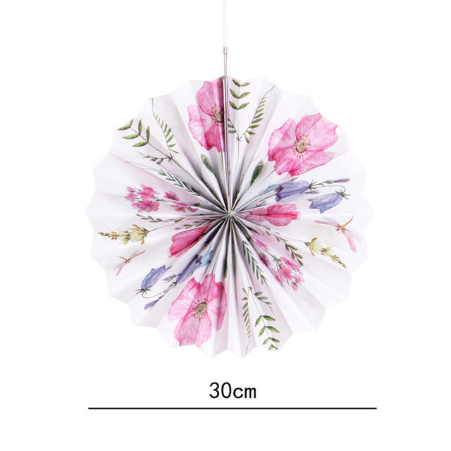 Floral Printed Paper Fan