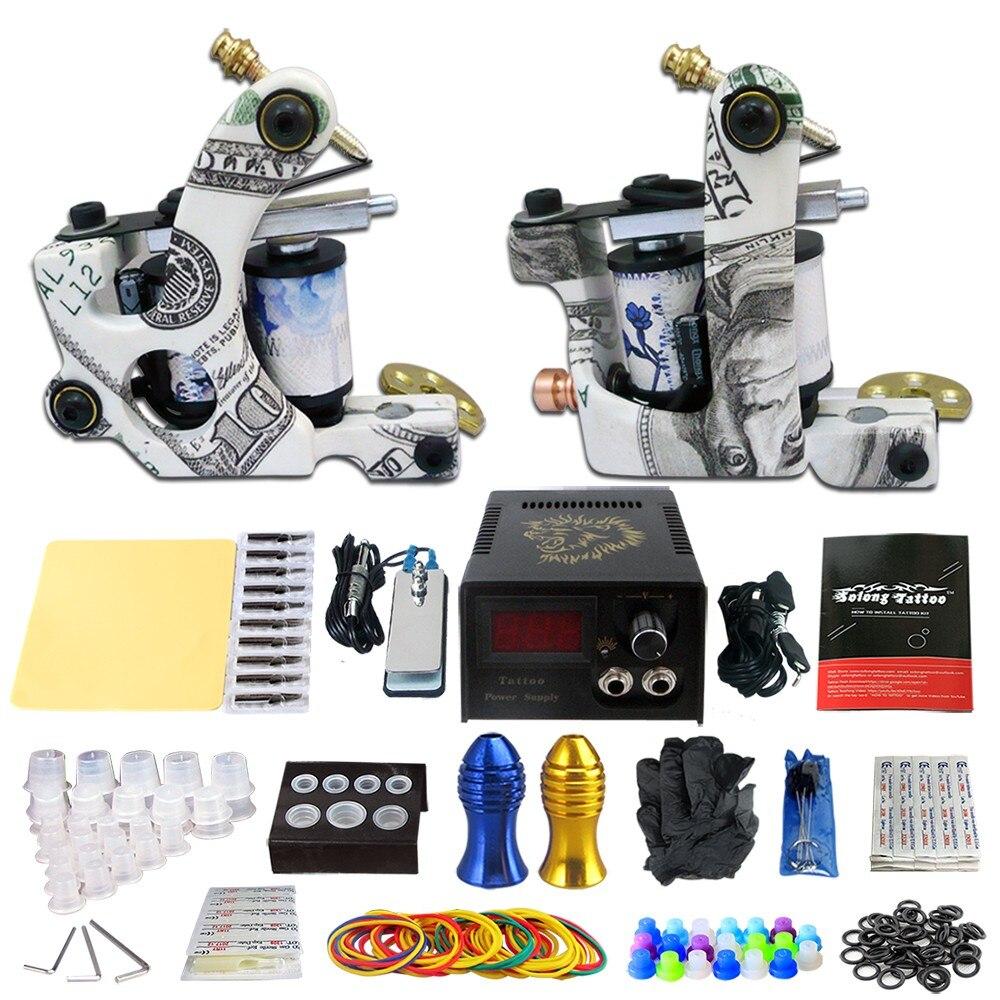 TA10 1 Set Tattoo Kit 2Pcs Tattoo Machine Tattoo Power Supply Footswitch Grip Practice Needles Skin Cleaning Tools kit
