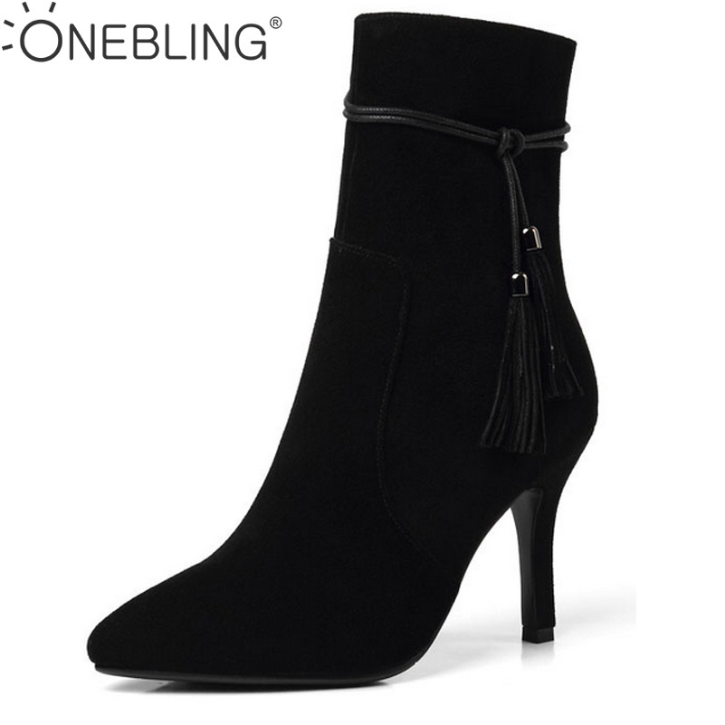 Tassels Pointed Toe Super High Heel Leather Pumps 2017 Autumn Winter Fashion Cow Suede Women Ankle Boots Lady Short Boots autumn winter cool fashion black leather and suede spike heel short boots charming woman pointed toe ankle boots concise design