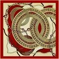 Marca de luxo Lenço de Seda Quadrado Mulheres 2016 Rodada Geométrica Cadeia Bandana Impressão Feminino