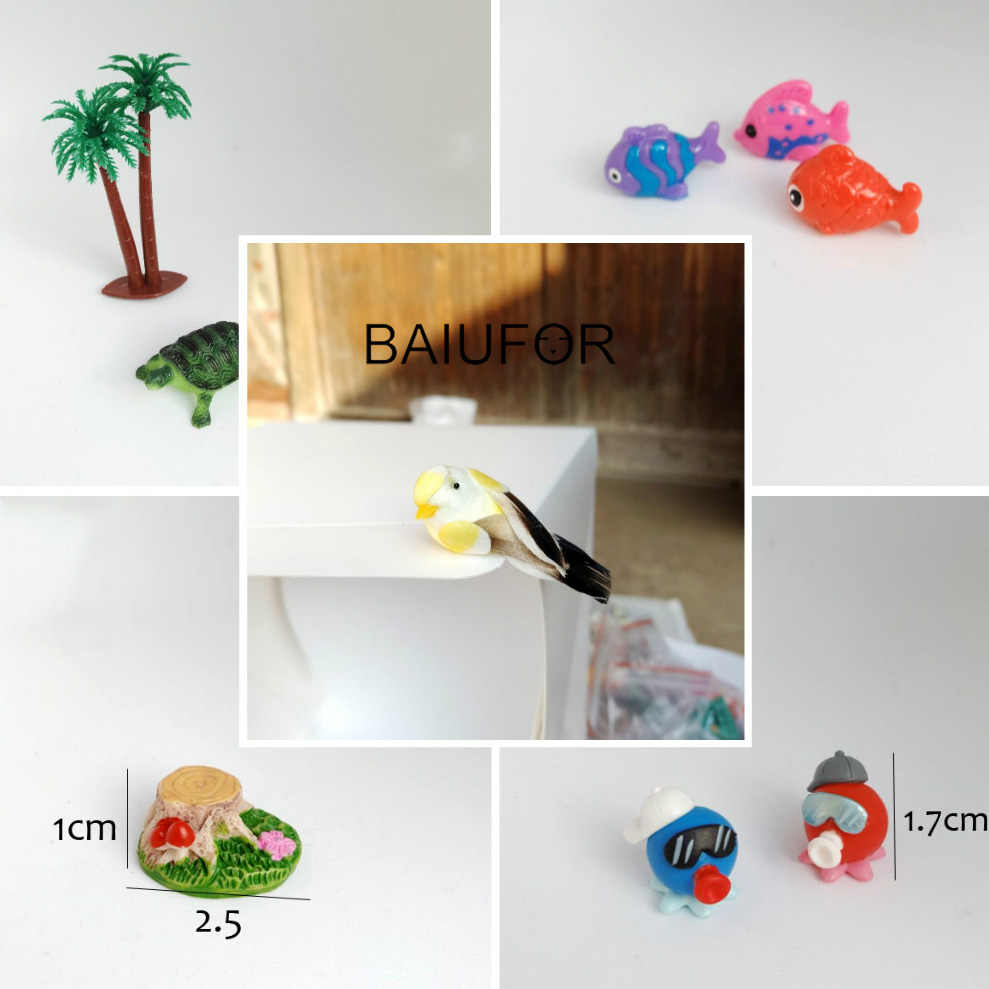 BAIUFOR Miniature Collections Aniamls House Trees Girl Moss Landscape Decor diy Terrarium Figurines Fairy Garden Miniatures Toys