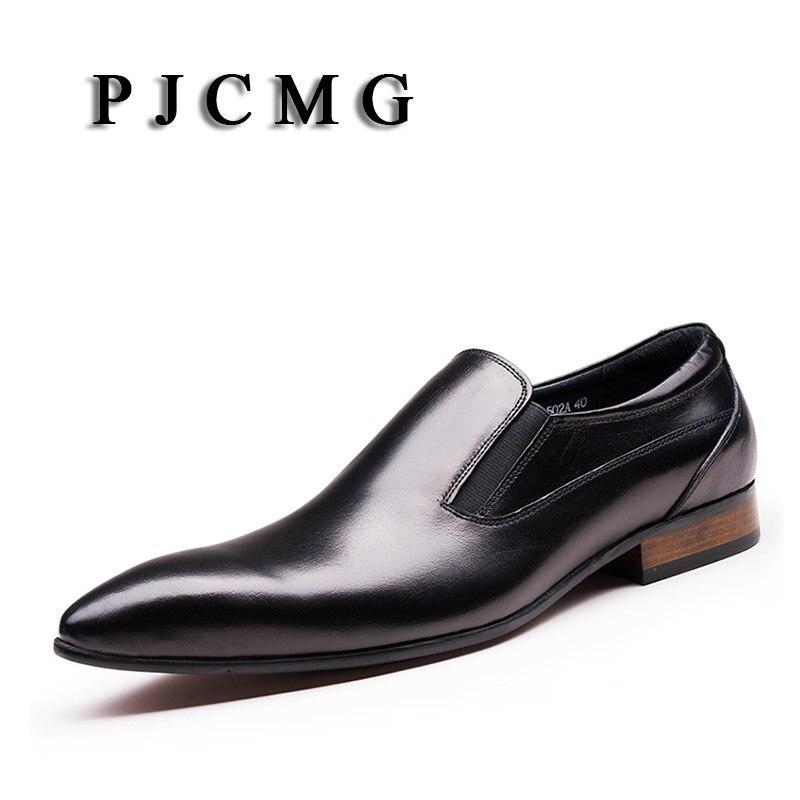 PJCMG nueva moda cómodo negro/rojo cuero genuino banda elástica punta puntiaguda plano hombre Casual clásico Caballero zapatos-in Zapatos formales from zapatos    1