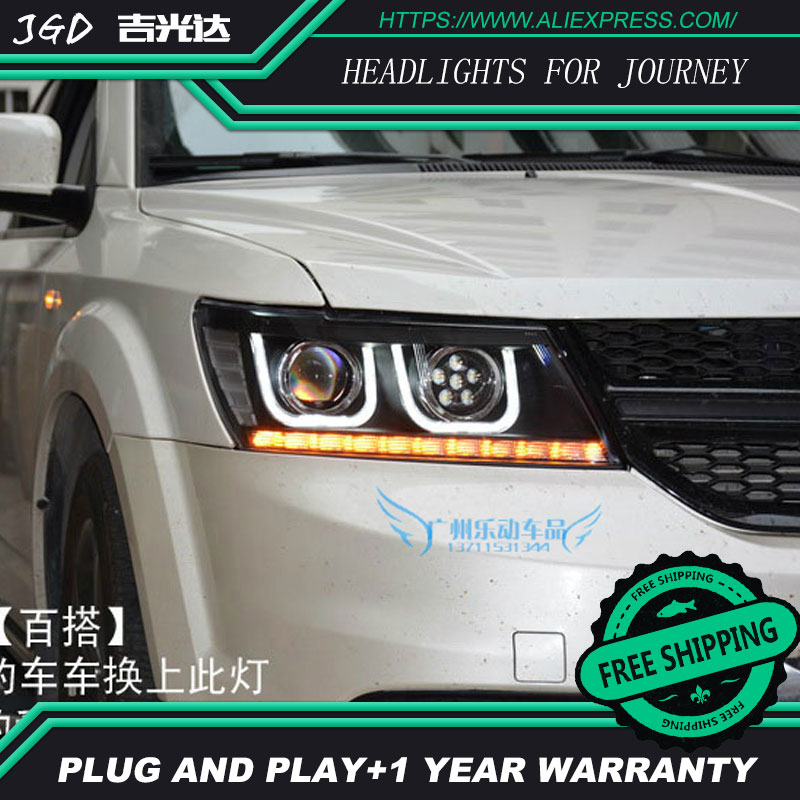 цена на high quality Car Styling for Dodge Journey 2009-2015 Headlights LED Headlight DRL Lens Double Beam HID Xenon Car Accessories