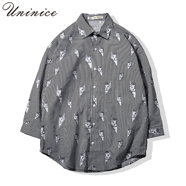 df613af3 2018 Spring Male Style Long Sleeved Shirts Youth fashion stripe Shirts Men  Preppy Style Oversize Shirts