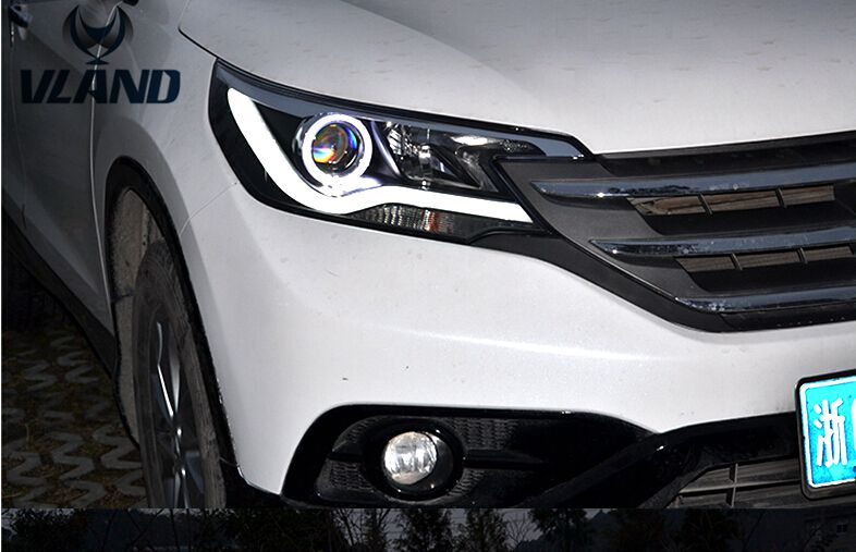 Free shipping vland factory car accessories for honda CRV led headlight frontlight with angel eyes