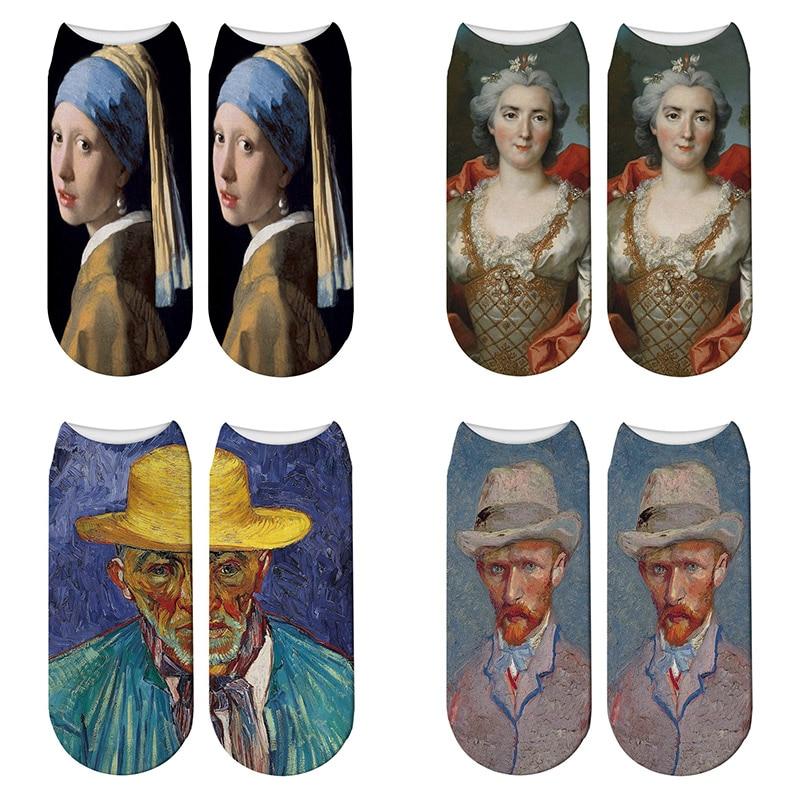 New 3D Printed Oil Elastic   Socks   Retro Women Art Van Gogh Mural   Socks   Oil Painting World Famous Male Funny Happy   Socks