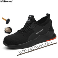 2019 Мужская защитная Рабочая обувь со стальным носком, большие размеры, короткие ботинки, мужская обувь со стальной подошвой средней высоты