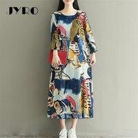 JYRO Brand Mori Women S Dresses Art Printing Long Loose Large Size Mid Calf Long Sleeved