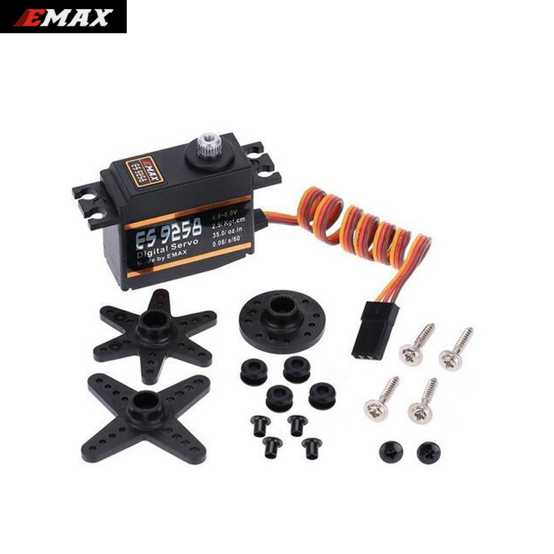 4set/lot EMAX ES9258 Metal Gear Digital Servo 27g/ 3kg/ .05 sec for rc helicopter emax es3051 general plastic gear digital servo with bearing rc model spares