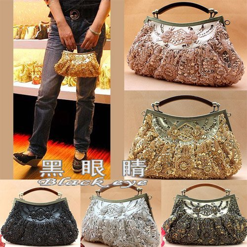 Metallic sparkling pearly-lustre wedding Handbag Bridal & Evening Beads Clutch Purse Party Full Jeweled Frame