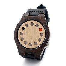 БОБО ПТИЦА 12 отверстий Набрать Дизайн Черный Натурального Бамбука Вуд Смотреть Подлинный Черный Кожаный Ремешок Япония Движение Кварца Случайные Часы D05