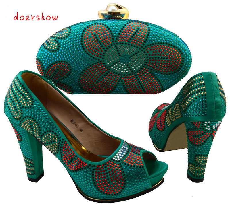 doershow Italian Shoe with Matching Bag Silver African Shoe and Bag Set New Design Matching Shoes and Bags for Party  BCH1-7